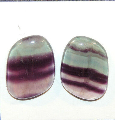 Fluorite Cabochons 23x17mm with 5mm dome set of 2 (11502)