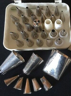 Lot 36 Asst Cake Cookie Icing Decorating Tools Metal Tips Ateco Wilton Maggie