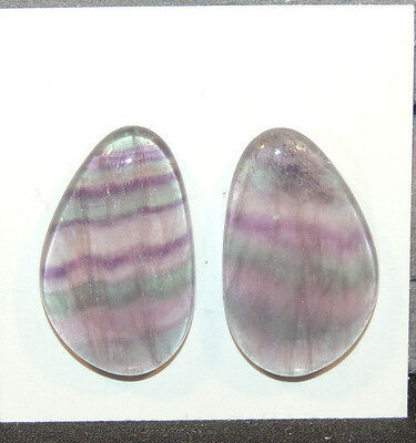 Fluorite Cabochons 26x16mm with 5mm dome set of 2 (11513)