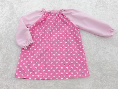 Younger Child Art Smock Pink Hearts with Pale Pink Sleeves Coverall Bib 6m-3yrs