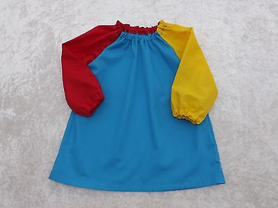 Younger Child Art Smock Turquoise 1 Red & 1 Yellow Sleeves Coverall Bib 6m-3yrs