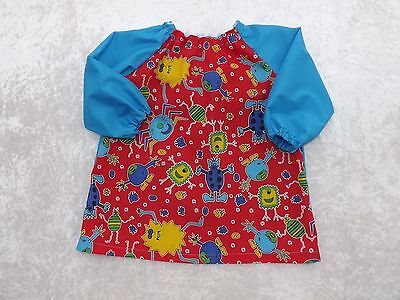 Younger Child Art Smock Red Monster Turquoise Back & Sleeve Coverall Bib 6m-3yrs
