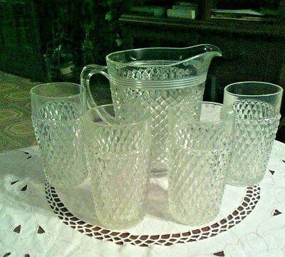 Vintage Indiana Glass Diamond Point Clear Glass Tumblers and Pitcher.