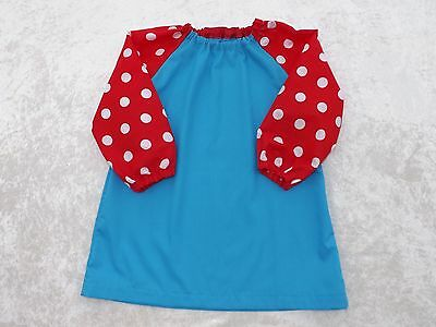 Older Childs Art Smock in Turquoise with Red Spotty Sleeves Coverall Bib 4-6yrs
