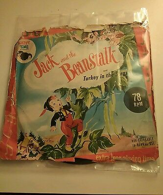 "Rare Vintage Happy Time 7"" 78rpm Jack and the beanstalk & Turkey in the straw."