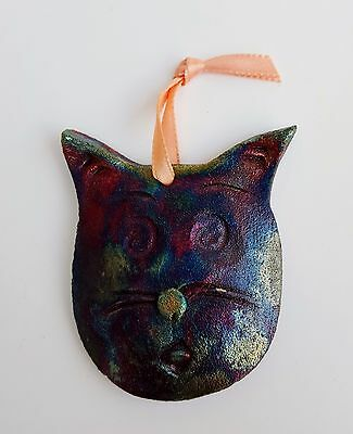 Colorful Metallic Painted Ceramic Cat Ornament Hand Made NEW