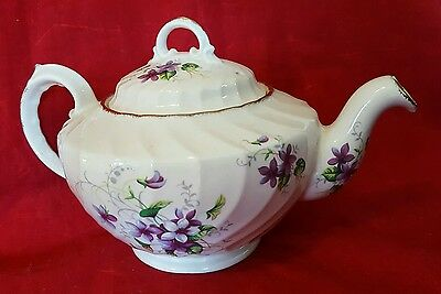 VINTAGE ROYAL CROWN  TEAPOT ~ FLORAL WITH GOLD TRIM ~ Staffordshire England