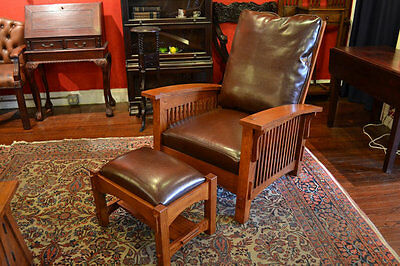 Crafters and Weavers Mission Oak Morris Chair with Leather Cushions and Ottoman