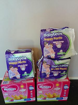 Huggies Junior Girl Nappies (120) & Baby Love Nappy Pants (40+) - 15Kg+