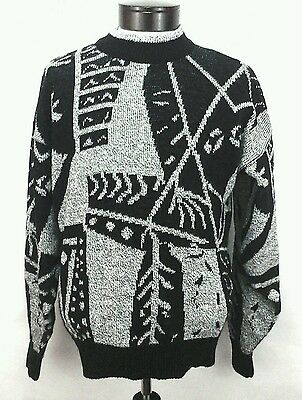 LE TIGRE Vintage 80's abstract Black Gray geometric COSBY sweater USA Mens M