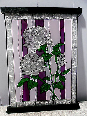 9inch x 12inch~STAINED GLASS~ROSES~SUNCATCHER PANEL