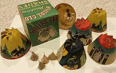 VINTAGE Revolving 1936 WHIRL GLO Christmas Tree LIGHT SHADES Orig Box 6 Shades
