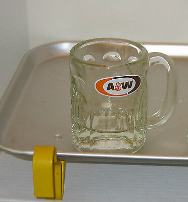 """Vintage A & W Root Beer Mug A&W Heavy Glass with Thumbprint Design 4 1/4 """" Tall*"""