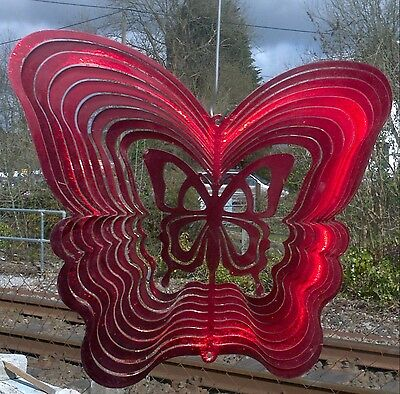 RED BUTTERFLY 12inch (300mm) IRON STOP 3D WIND SPINNER. Garden ornament FREE P&P