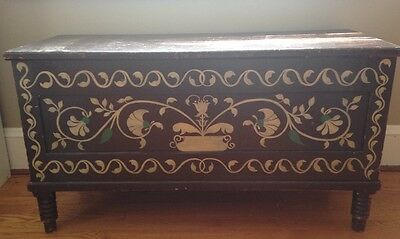 antique painted blanket chest trunk