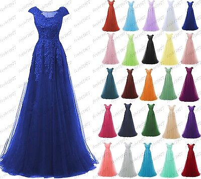 Long Chiffon Formal Lace Evening Ball Gown Party Prom Bridesmaid Dress Size 6-22