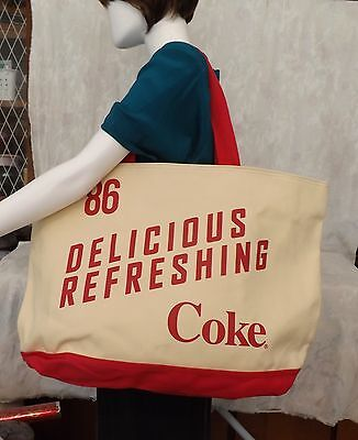 NWT Coca Cola Large Oversized Canvas Tote with Zipper closure, and wristlet