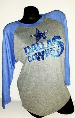 Dallas Cowboys Shiny Lettering on a Unisex Tri-Blend 3/4-Sleeve Tee.Team Spirit!