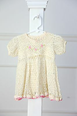 Vintage baby girl ivory crocheted dress - size 12 months