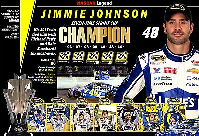 2016 Nascar Sprint Cup Champion Jimmie Johnson Commemorative Poster