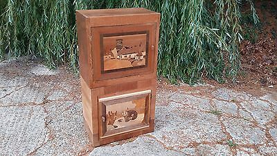 Vintage inlaid cupboard thin and tall storage records files