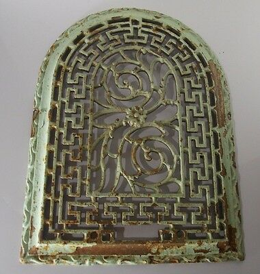 Late 1800's Antique Cast Iron Arch Dome Heat Grate Wall Register Old Vintage
