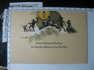 Medieval Jester Silhouettes - Cordial Christmas Greetings Antique Christmas Card