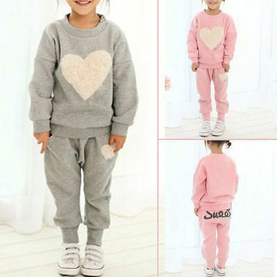 2pcs Girls Kids Sweet Heart Clothes Tracksuit Top+Pant Outfits Casual Suit Sets