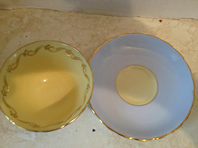 Vintage Tuscan Tea Cup And Saucer Yellow & Blue Gold Accent Pattern Teacup