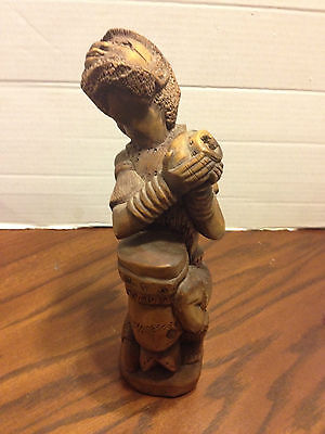 Vintage Hand Carved Wood African Tribal Male with Drum Figurine