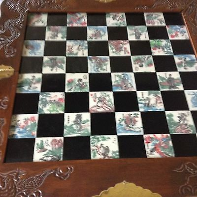 Vintage Chinese Chess Set w/Storage in Carrying Case