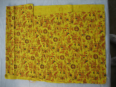 """Vintage Mustard Yellow, Red Print Fabric Remnant - 56"""" x 16.5"""" - Lot B8"""