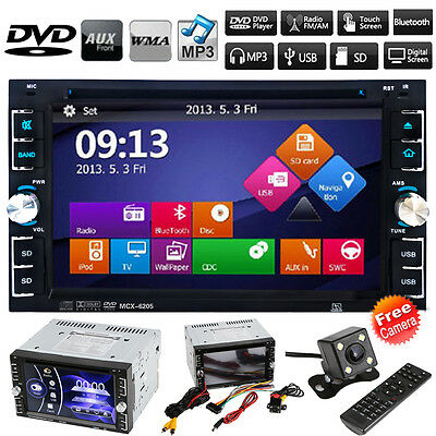 "6.2"" HD Double 2 DIN Car GPS Stereo DVD Player Bluetooth Touch Radio TV + Camera"