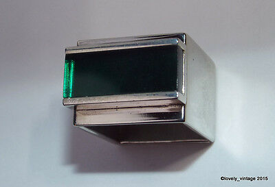 Modernists Ashton / Bribiesca Chrome & Green Perspex Acrylic Square Ring - 2004