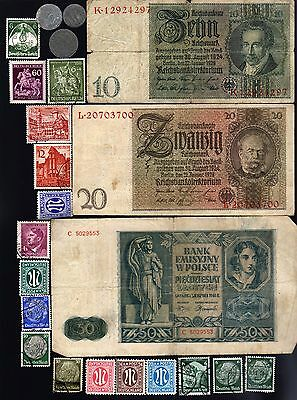 Nazi Banknote, Coin And Stamp Set  # 85