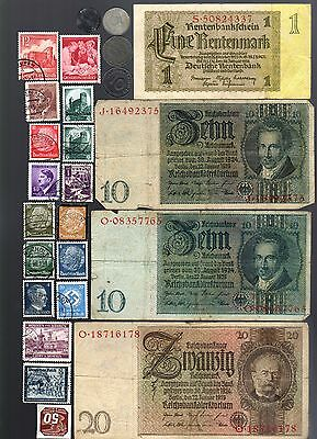 Nazi Banknote, Coin And Stamp Set  # 94