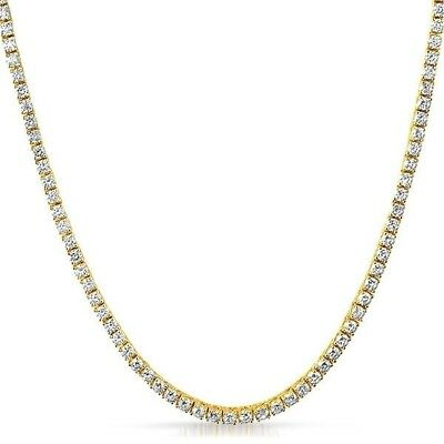 3mm Lab Made Iced Out Small Stone Gold Tennis Chain Men or Women