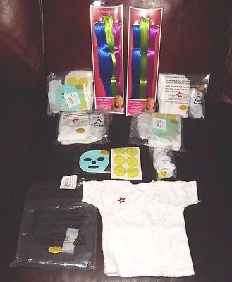 American Girl Doll Lot Deluxe Spa Day Robe Slippers! + Jewel Hair Extensions