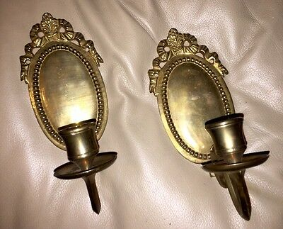 Pair (2) of VICTORIAN BRASS BRONZE FRENCH Ribbon Tassel Oval Wall Candle Sconces • CAD $125.99
