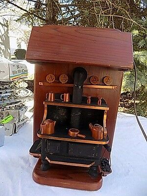Vintage Handmade Colonial Black Cast Iron Stove Wall Hanging Electric Light 15x9