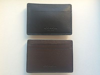 NEW Coach F75459 Mens Leather Money Clip Card Case black & mahogany& saddle
