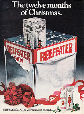 Original Print Ad-1980 BEEFEATER GIN-The twelve months of Christmas. Gift Case