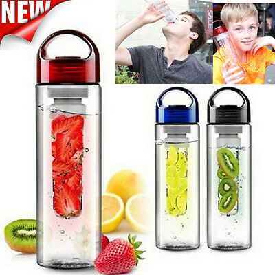 700ML Plastic Fruit Infusing Infuser Water Bottle Sports Health Juice Cup Make