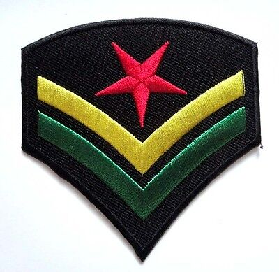 #02 Rasta Army Sergeant Stripes Chevrons Embroidered Iron on Patch Free Shipping