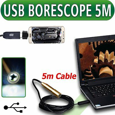 Endoscopio USB Boroscopio Inspección de metal cámara 5M/16 Ft Android Phone