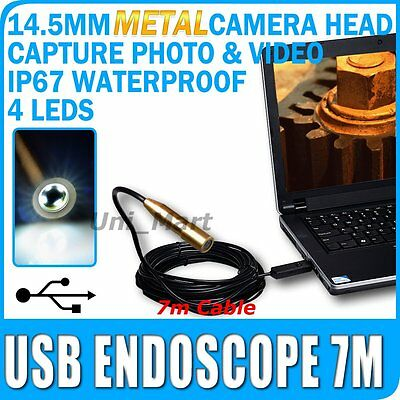 Endoscopio USB Boroscopio Inspección de metal cámara 7M/23Ft Cable