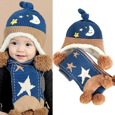 Warm Baby Toddler Newborn Boy Girl Kids Winter Soft Wool Hat Cap + Scarf Scarves
