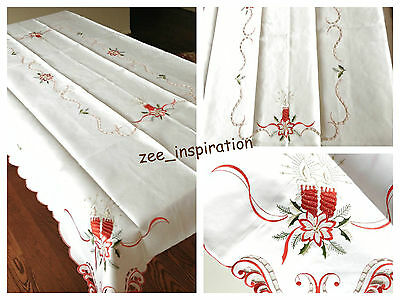 Christmas Embroidered Table Cloth with Cut Work (220x145cm)white XMAS