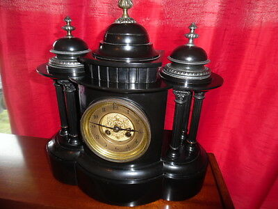 Victorian Polished Slate  Mantle Clock