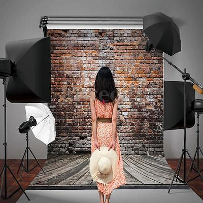 AU STOCK 5x7FT Photo Backdrop Old Brick Wall Wood Floor Photography Background